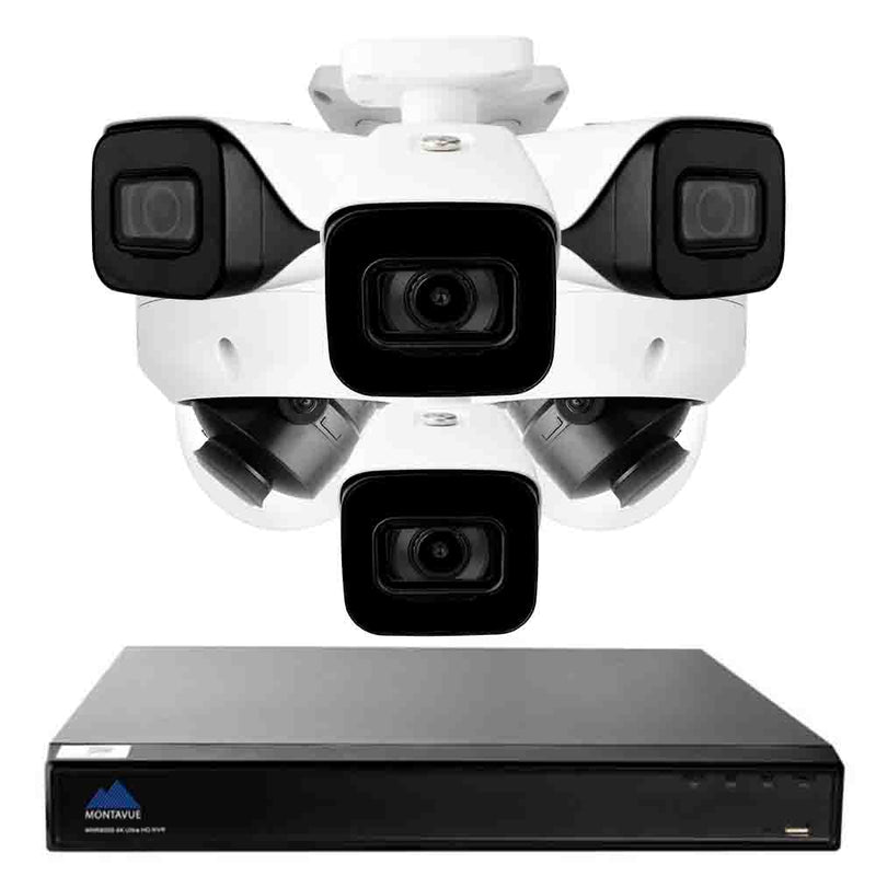 Complete 4K security camera system with a single square black NVR, 4 white bullet style security cameras and 2 white dome style security cameras