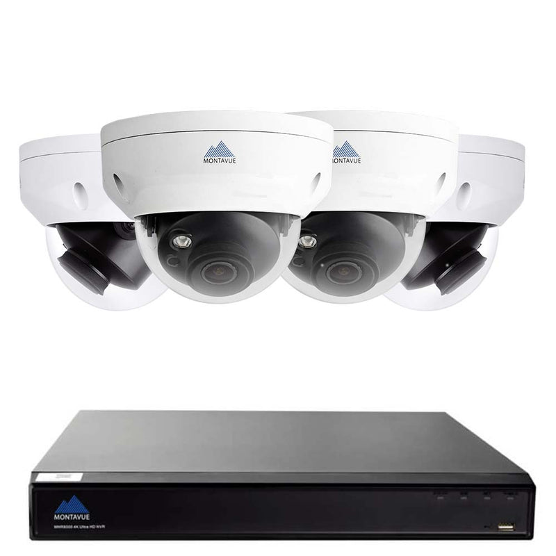 Complete 4K security camera system with a single square black NVR and 4 white dome style security cameras