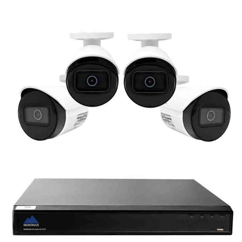 Montavue 8MP Ultra HD IP NVR Business & Home Security System w/ 4 2K Resolution Bullet Cameras, 2TB HDD