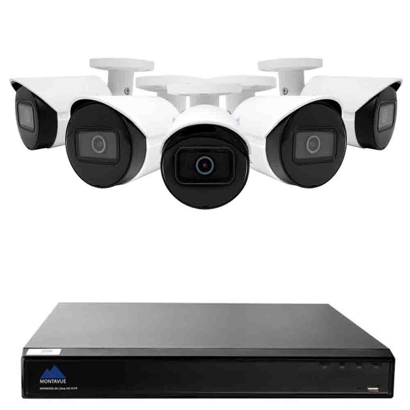 Montavue-8 Channel Surveillance System with 5 2K 4 Megapixel IP Bullet Cameras