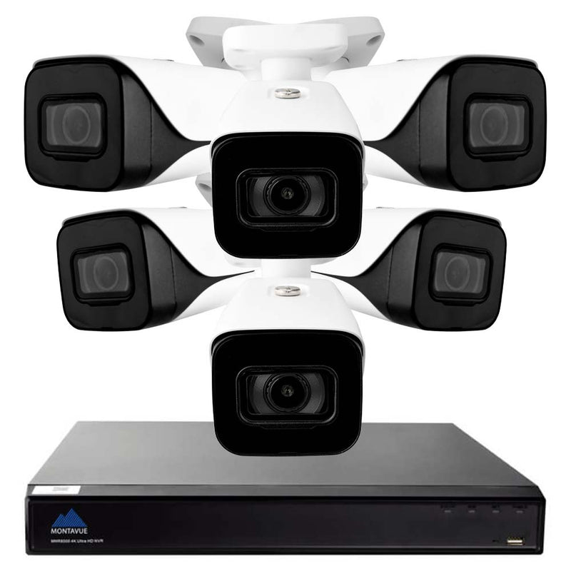 4K security camera system with a single square black NVR and 6 white bullet style security cameras