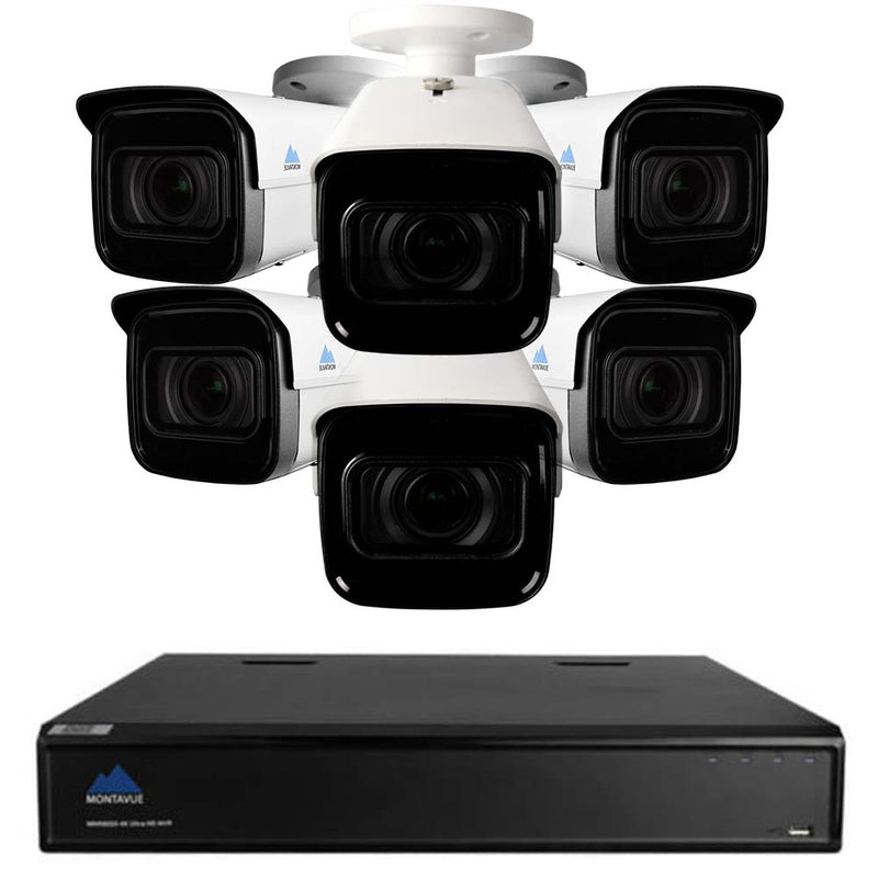 Montavue 8 Channel Security System w/ 6 Pro 4k Motorized Bullet Cameras