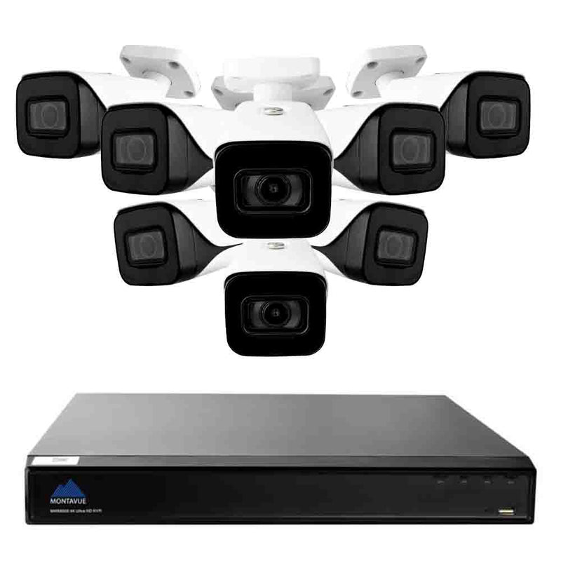 4K surveillance system with a single square black NVR and 8 white bullet style security cameras