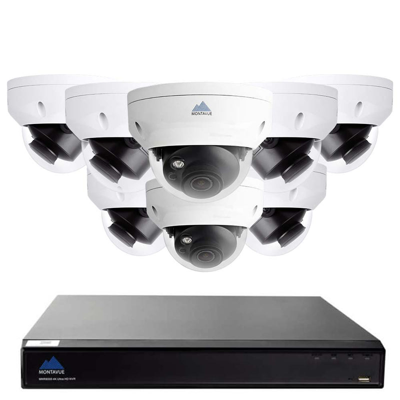 4K security camera system with a single square black NVR and 8 white dome style surveillance cameras