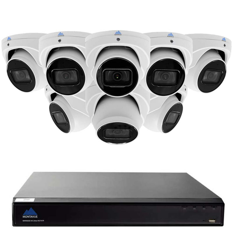 Montavue-8 Channel 4K AI NVR w/ 8 5MP AI Smart Motion Turret Cameras with Built-in Mic, 2TB HDD