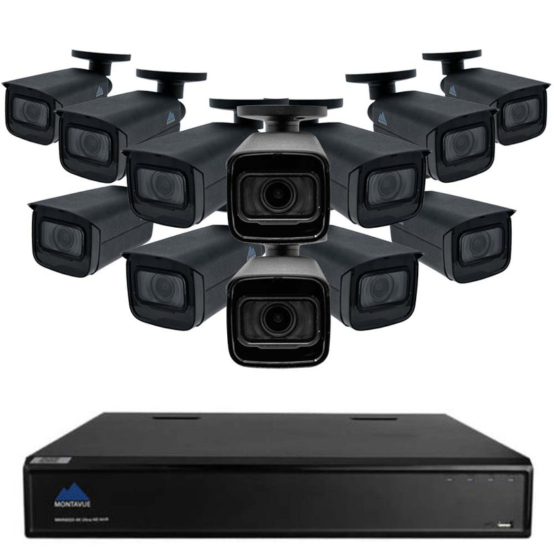 Montavue 16 Channel 4K Home Security System w/ 12 4K 8MP AI-SMD Starlight Varifocal Bullet Cameras - 3TB HDD