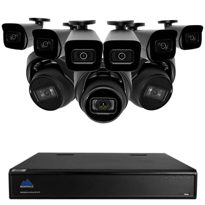 Commercial Grade 4K Security System w/ 3 4K Smart Motion Detect Audio Turret Cameras and 6 4K Smart Motion Detect Audio Bullet Cameras - Starlight Night Vision, Built-in Mic, 3TB HDD