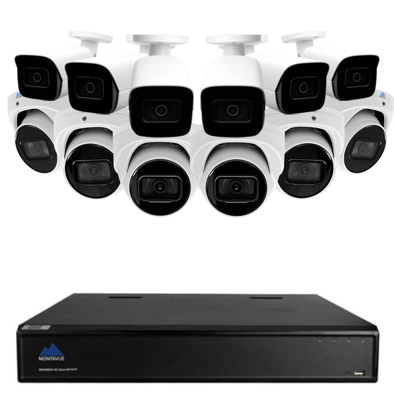 4K Home Security System w/ 6 4K Smart Motion Detect Audio Turret Cameras and 6 4K Smart Motion Detect Audio Bullet Cameras - Starlight Night Vision, Built-in Mic, 3TB HDD