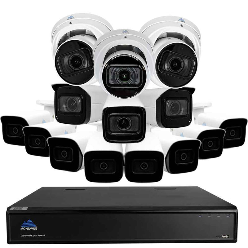 16 Channel 8MP Security System w/  3 4K Varifocal Audio Turret Cameras, 3 4K Varifocal Bullet Cameras, and 8 4K Fixed Lens Audio Bullet Cameras- Smart Motion Detect, 4x Motorized Zoom, Starlight Night Vision, 3TB HDD