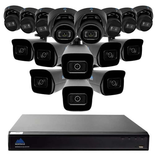 4K 8MP Security System w/ 8 4K AI-SMD Starlight Audio Turret Cameras and 8 4K AI-SMD Starlight Audio Bullet Cameras - Smart Motion Detect, Built-in Mic, 3TB HDD