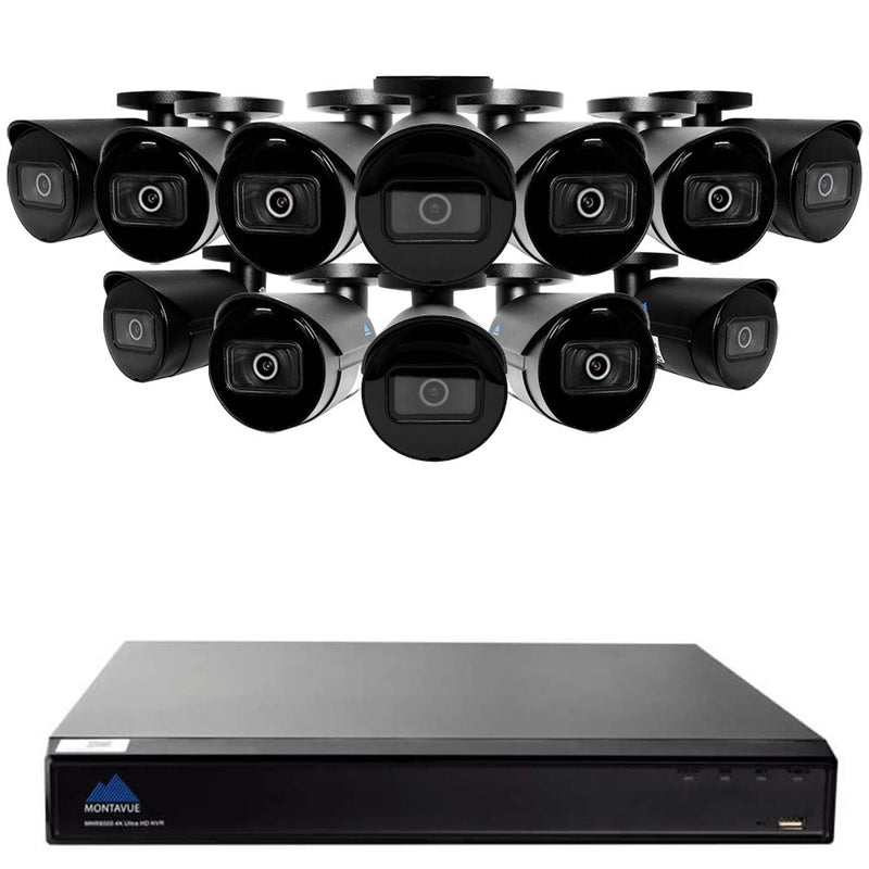 Montavue 16 Channel IP Security System w/ 12 4MP IP Bullet Cameras, 3TB HDD