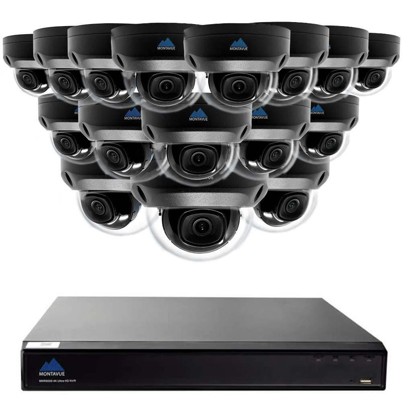 Montavue -32 Channel 4K Smart Business Security Camera System with 16 4K Indoor/Outdoor Vandal Proof Dome Cameras