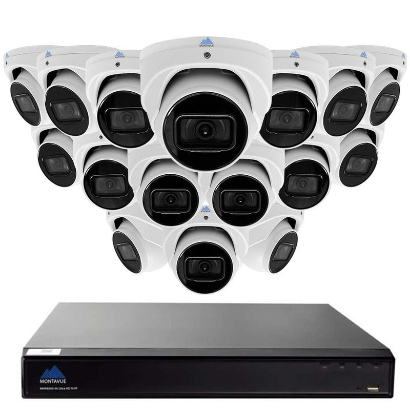 16 Channel 4K Security Camera System w/ 16 8MP Turret Cameras with Built-in Mic,