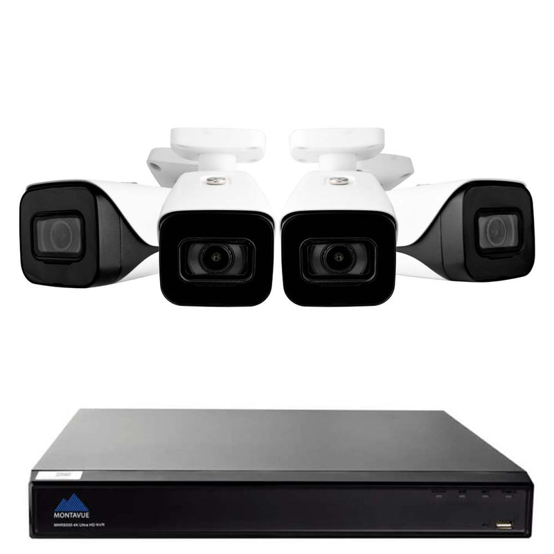 Montavue-IP 4K 16 Channel NVR Home Security Camera System with 4 Indoor/Outdoor 4K IP Metal Cameras - Low Light Color Optics, 164ft IR, 4K @ 30fps, H.265