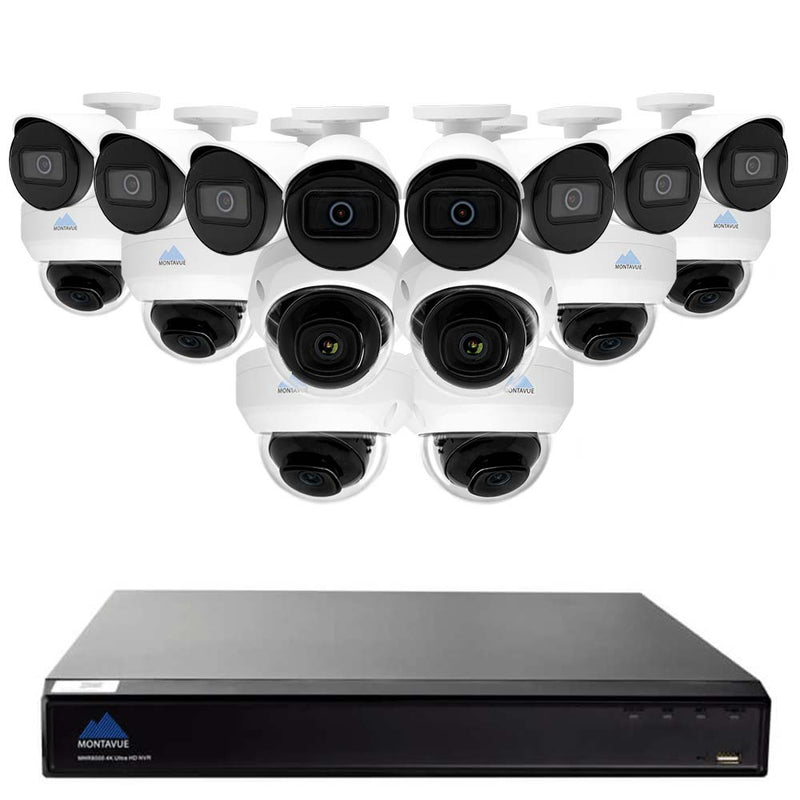 Montavue 16 Channel Security System w/ 8 4MP 2K Bullet Cameras & 8 4MP 2K Dome Cameras