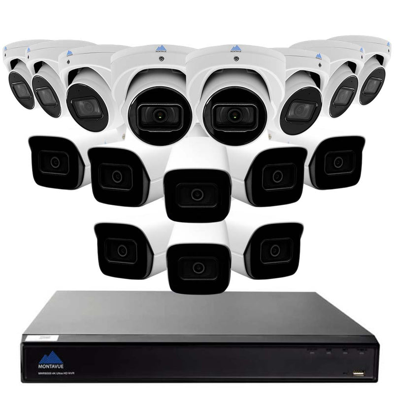 Montavue-4K Ultra HD IP NVR Surveillance System w/ 16 2K 5 Megapixel IP AI-SMD Cameras with Built-in Mic, 3TB HDD