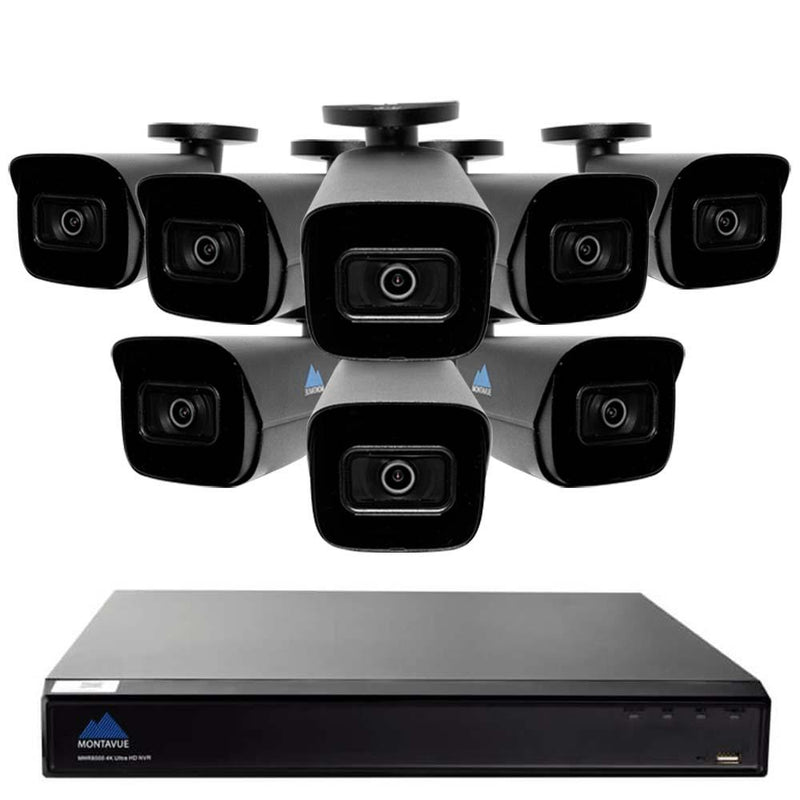 Montavue-4K Home Security System w/ 8 4K 8MP AI-SMD Starlight Audio Bullet Cameras - 2TB HDD
