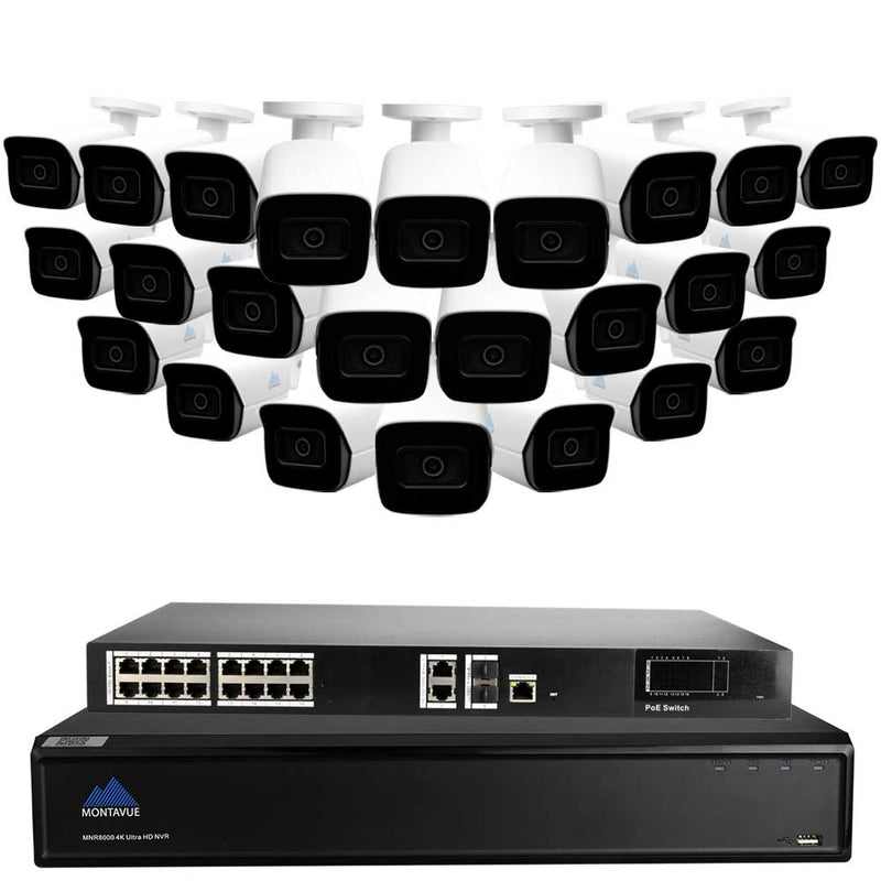 32 Channel 4K Commercial Security System w/ 24 4k Commercial Security Cameras