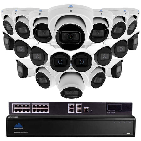 Montavue 32 channel IP Audio Security Camera System with 20 4MP 2K IP Bullet & Turret Cameras