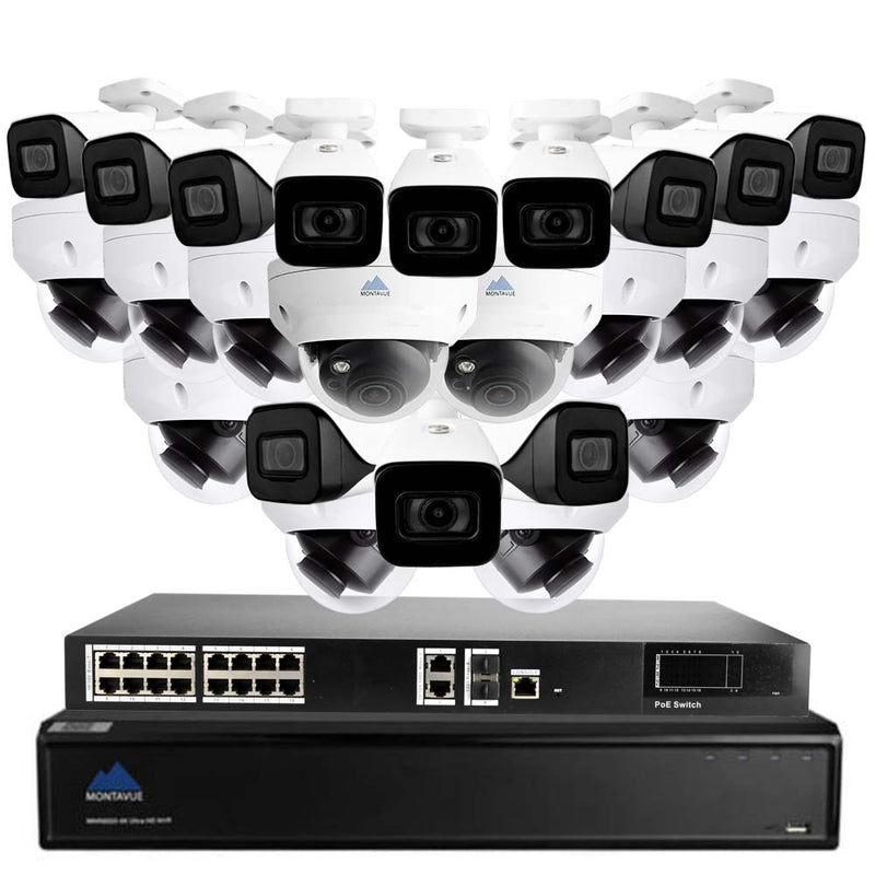 Montavue-32 Channel 4K Security Camera System with 24 Indoor/Outdoor 4K Security Cameras