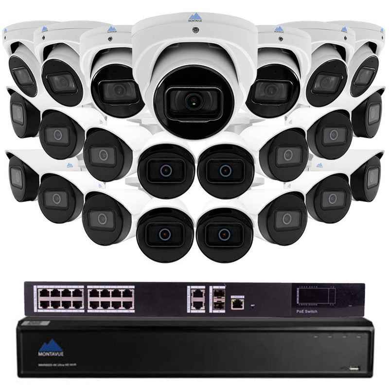Montavue Commercial 32 Channel Audio Recording Security System w/ 23 4MP 2K IP Bullet &Turret Cameras