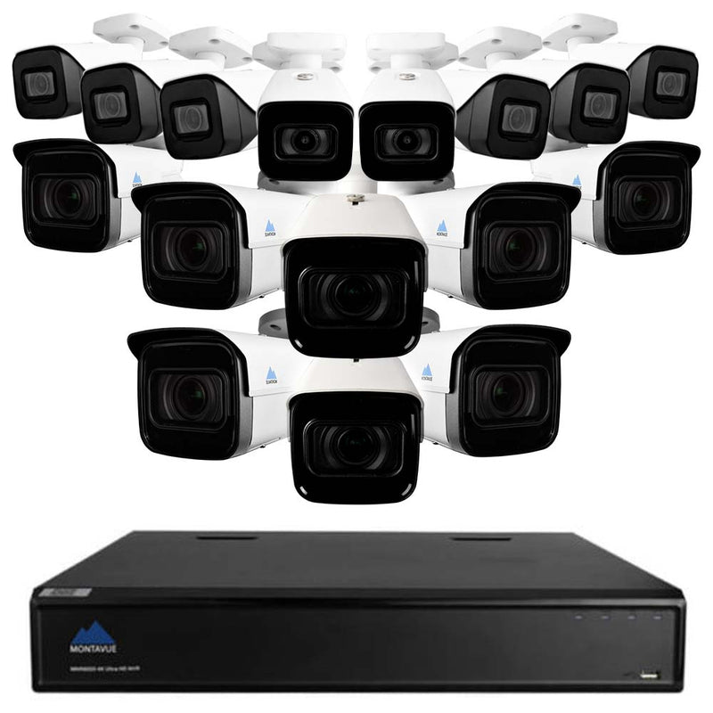 Montavue 32 Channel Premium Security System w/ 8 4k Motorized Bullet Cameras and 8 4k Fixed Lens Bullet Cameras