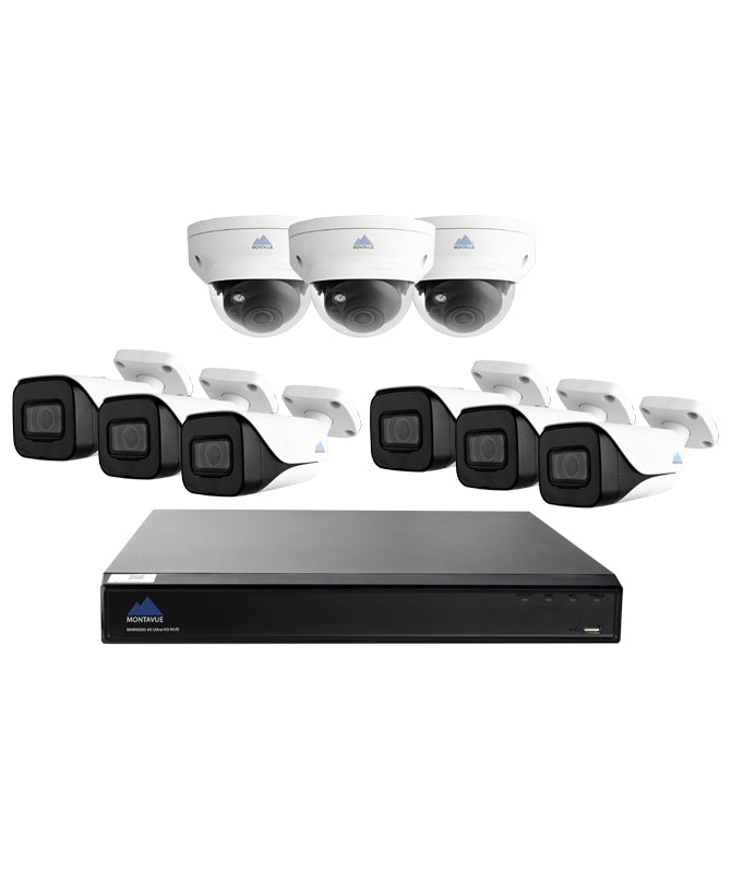 Montavue-16 Channel 4K NVR Home/Commercial Security Camera System with 6 4K Bullet Cameras and 3 4K IP Vandal Proof Dome Cameras