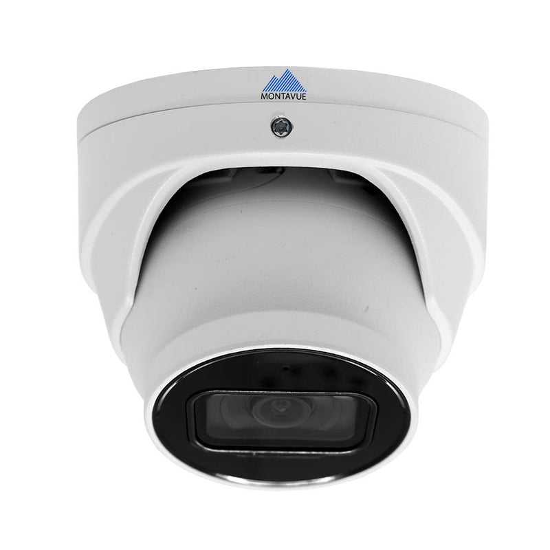 Front facing view with camera tilted downward of a single 4K 8 megapixel turret style security camera. White housing