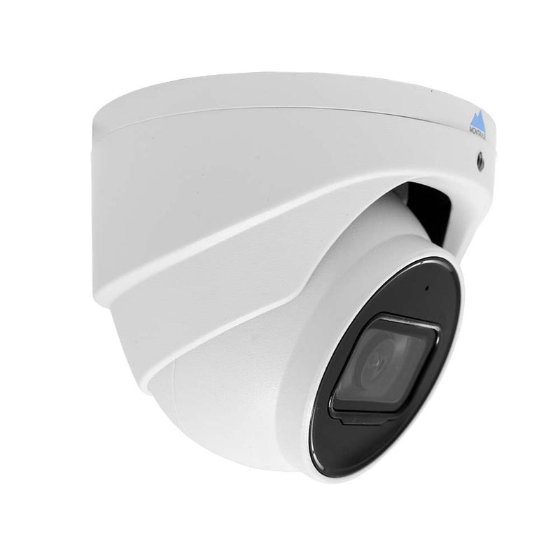 Side view of a single 4K 8 megapixel turret style security camera. White housing