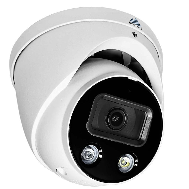 White Active Deterrence security camera viewed from the right showing a l e d light and infrared light at the bottom of the lens