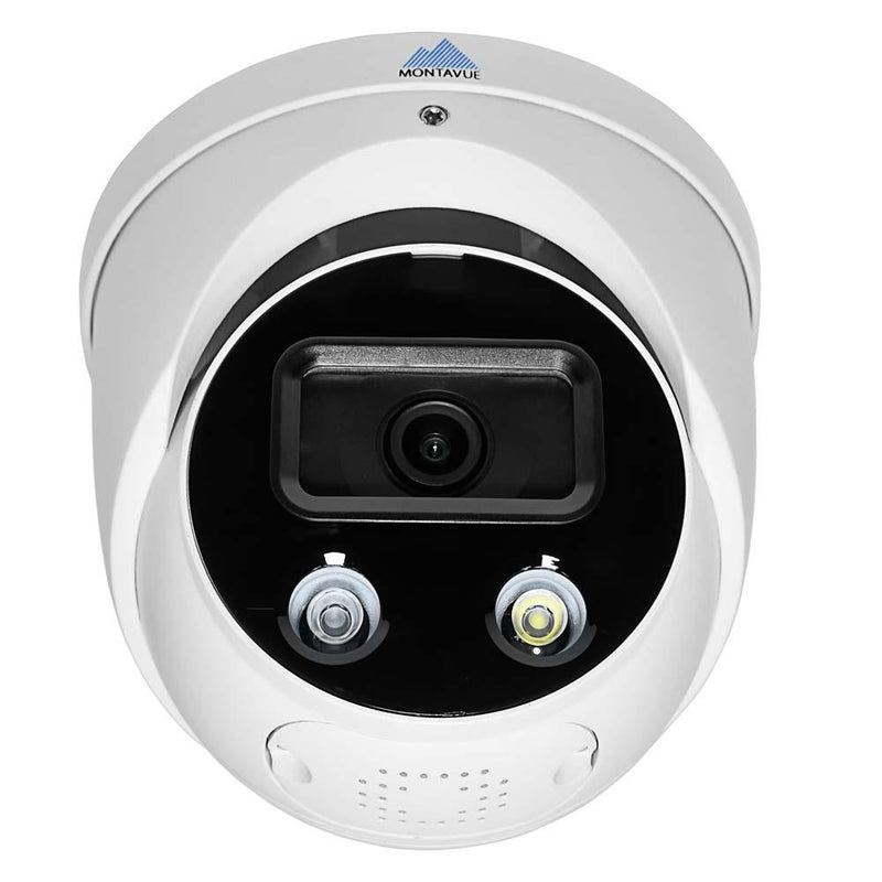White Active Deterrence security camera viewed from the front showing a l e d light and infrared light at the bottom of the lens