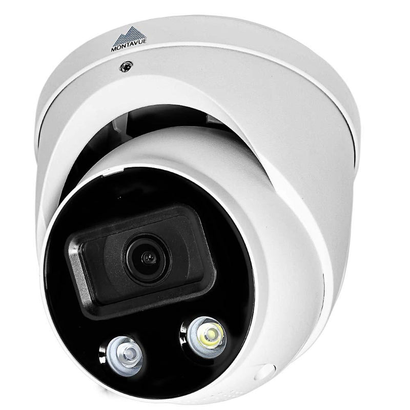 White Active Deterrence security camera viewed from the left showing a l e d light and infrared light at the bottom of the lens