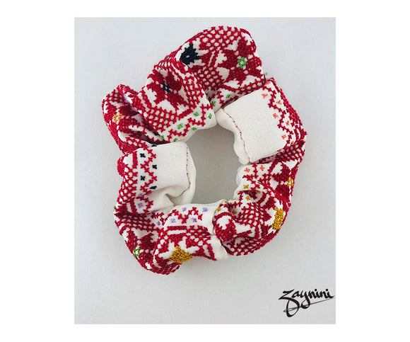 JENIN WHITE & RED SCRUNCHIE