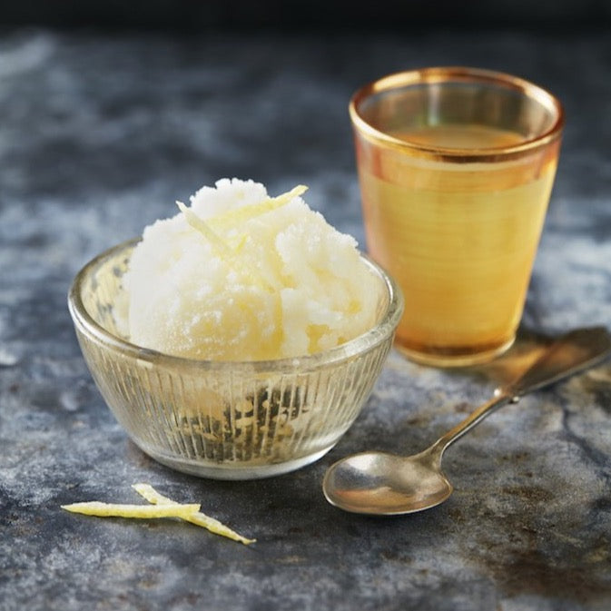 Italian Lemon Sorbet served with a shot of Limoncino