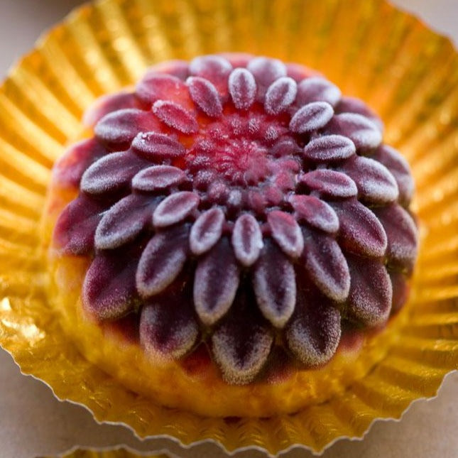 Sorbet flower: a blackcurrant & orange sorbet chrysanthemum