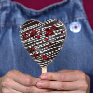 Heart-shaped ice cream on stick