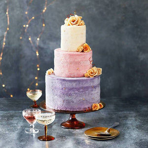 Ice cream wedding cake with golden roses
