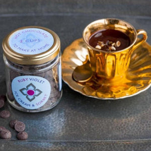 Make your own hot chocolate jar and hot chocolate in a golden cup