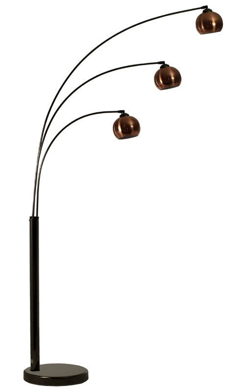 Bubble 3 Arc Floor Lamp In Black Chrome With Three Copper