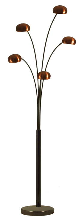 Fiver lounge 5 copper arc floor lamp with black chrome for Arc floor lamp with copper shade