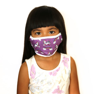 Girls Unicorn Purple Fashion Face Mask