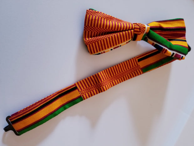 African Print Kente Print Matching Kufi / Cap with Matching Bow Tie