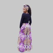Kkunda Women's Purple African Print Ankara fabric Plazzo Pants with Elastic Waist and Pockets and Matching Headwrap or Scarf