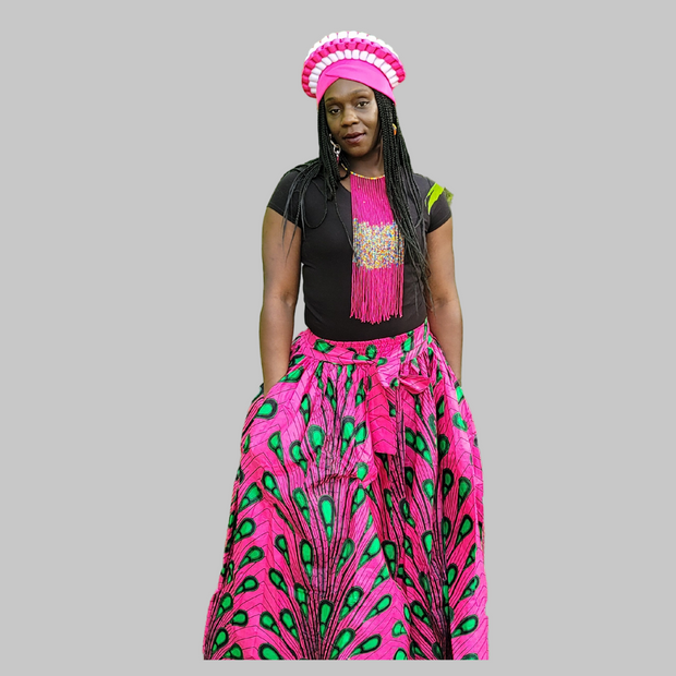 Kkunda Women's African Print Ankara fabric Long Maxi Skirt with Pockets and Matching Headwrap or scarf