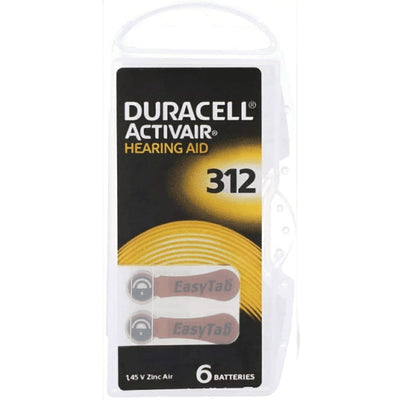 Duracell Activair Hearing Aid | Size 312 - Pack of 6 Batteries