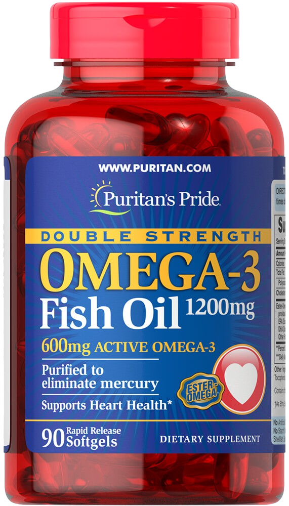 90 Softgels Fish Oil 1200mg Omega-3 600mg Double Strength