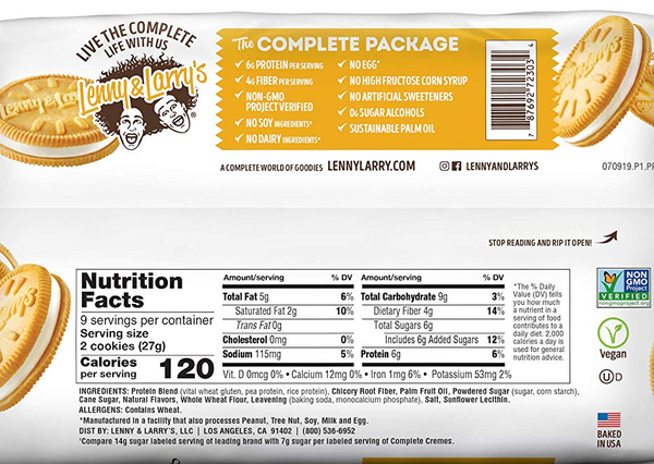 Cookies Protein Cremes Vanilla Plant-Based 244g