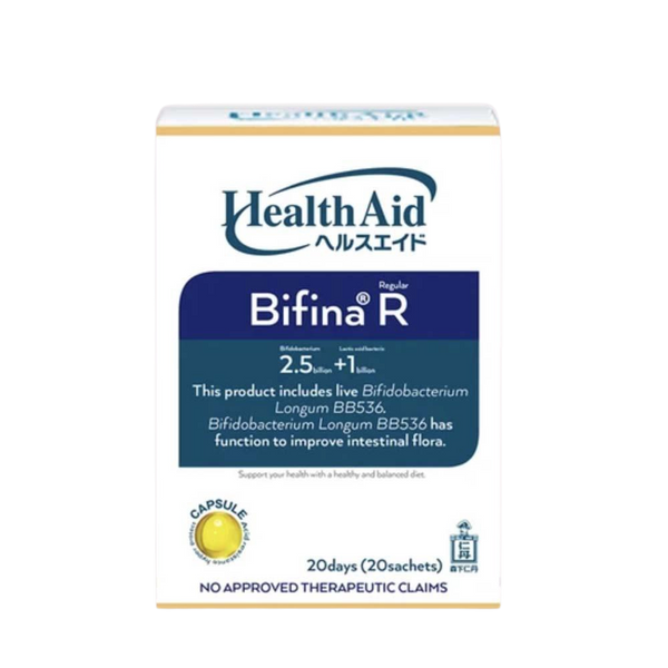 2.5 Billion Bifina Capsules (Sachet) Health Aid R20 2.5 Billion Probiotic 20pcs