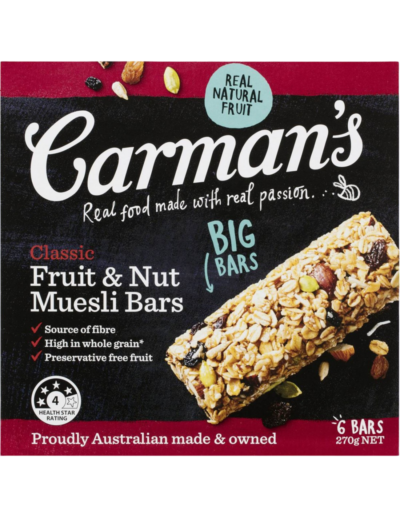 Muesli Bars Classic Fruit & Nut (6 bars)