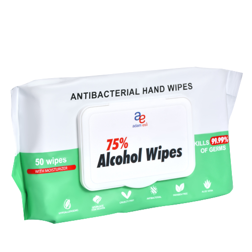 Disinfectant 75% Alcohol Antibacterial Hand Wipes 50pulls (Pouch)